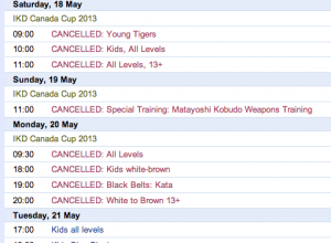 Class Cancellations May 2013
